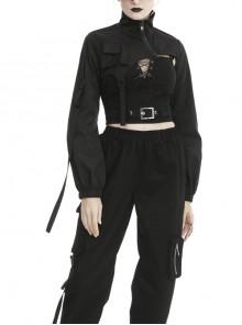 Punk Moto Black Irregular Zip Cape Super Short Jacket
