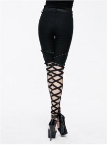 Punk Black Cross Binding Bands Slim Fit Sexy Pencil Pants