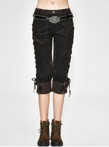 Steampunk Retro Pattern Industrial Style Lace-up Women Pencil Pants Cropped Trousers