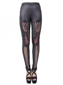 Steampunk Black Lace Lace-up Slim Trousers
