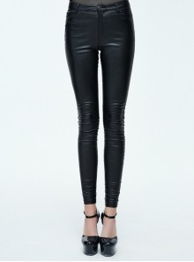 Steampunk Black PU Leather Slim Long Trousers