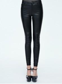 Steampunk Black PU Leather Slim Long Trousers