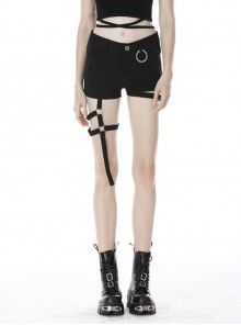 Punk Asymmetric Thigh Strap Black Slim Shorts