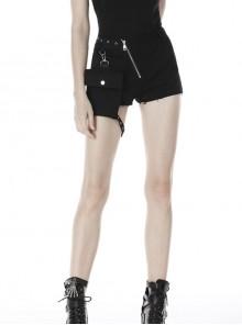 Punk Black Oblique Zipper Irregular Shorts With Side Bag