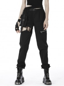 Punk Irregular Hollow Out Thigh Black Casual Trousers