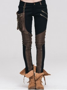 Steampunk Black Brown Pencil Pants With The Brown PU Rivet Small Pocket