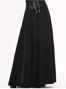 Steampunk Black High Waist Gothic Skirt Two Ways Wear