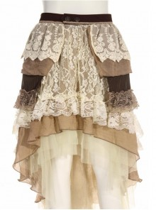 Steampunk Retro Cake Skirt Lace Irregular Hem Long Skirt