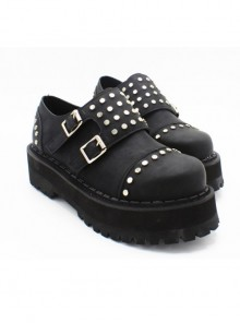 Steampunk Gothic Black Thick Soles Rivet Women's Round-toe Velcro Platform Shoes