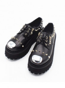 Punk Gothic Rivet And Zipper Black Women's Round-toe Platform Shoes