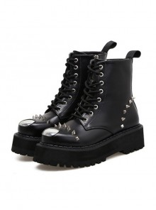 Black Rivet Punk Thick Sole Women's Round-toe Martin Boots