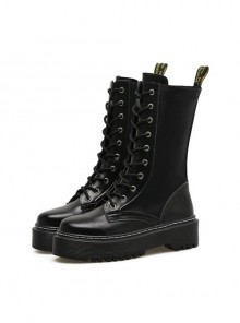 Punk Black Zipper High-top Thick Sole Women's Round-toe Middle Barrel Boots
