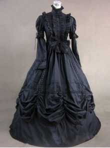 Classic Black High Collar Gothic Victorian Short Sleeve Long Dress
