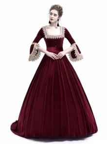 Victorian Velvet Marie Antoinette Queen Wine Red Theatrical Ball Dress