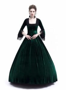 Victorian Green Velvet Marie Antoinette Queen Theatrical Ball Dress