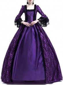 Gothic Victorian Purple Square-neck Masked Ball Dress