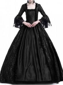 Gothic Victorian Black Square-neck Masked Ball Dress