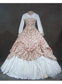 Victorian White and Floral Pattern Classic Rococo Dress