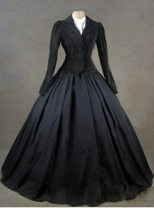 Gothic Victorian Black Jacket Winter Costume Dress