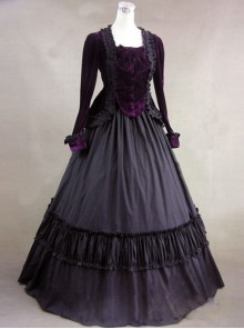 Gothic Victorian Purple Velvet Long Sleeves Ball Dress