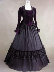 Gothic Victorian Purple Velvet Long Sleeves Ball Dress