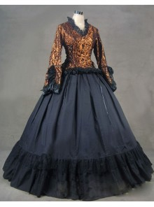 Vintage Romantic Gothic Long Trumpet Sleeves Victorian Dress