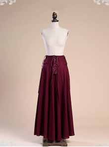 Victorian Palace Style Retro Gothic Cotton And Linen High Waist Big Hem Skirt