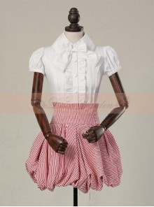 Victorian Retro High Waist Pink Stripes Skirt