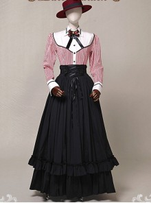 Victorian Retro Slim Fit Flounced Long Style Super Big Hem Skirt