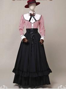 Victorian Retro Slim Fit Flounced Long Style Super Big Hem Skirt
