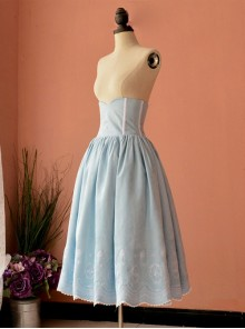 Victorian Retro Light Blue High Girdle Embroidery Big Hem Skirt