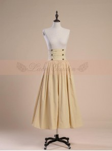 Victoria Palace Style Retro High Girdle Beige Big Hem Skirt