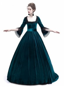 Blue Velvet Marie Antoinette Queen Theatrical Ball Dress