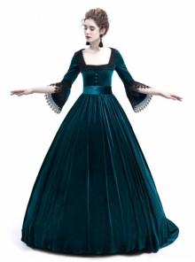 Blue Velvet Marie Antoinette Queen Theatrical Ball Dress
