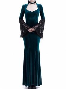 Victorian Gothic Blue Velvet Black Lace Dark Queen Dress