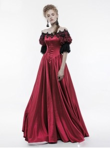 Victorian Palace Style Retro Red Long Ball Dress