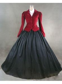 Victorian Gothic Red Jacket Black Dress Winter Costume