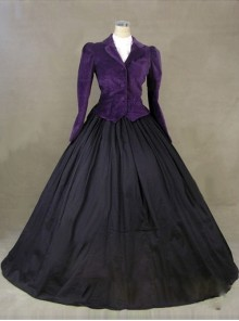 Victorian Gothic Purple Jacket Black Dress Winter Costume