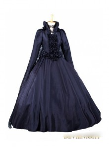 Black Long Sleeves Gothic Victorian Dress with Lace Cape