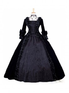 Gothic Victorian Black Velvet Ball Gowns