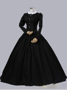Gothic Victorian Queen Victoria Day Black Cotton Dress