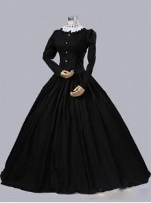 Gothic Victorian Queen Victoria Day Black Cotton Dress