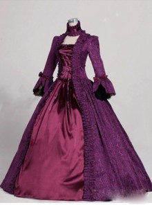 Victorian Marie Antoinette Purple Trumpet Sleeves Masked Ball Dress