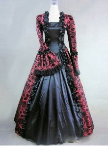 Victorian Marie Antoinette Wine Red and Black Masked Ball Dress