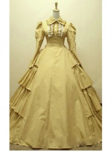 Victorian Classic Gothic Yellow Cotton Long Sleeves Dress