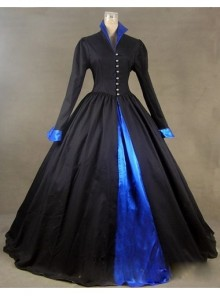 Victorian Gothic Black and Blue Long Sleeves Dress