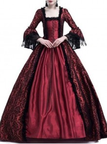 Gothic Red Satin Black Lace Masquerade Costume Victorian Dress