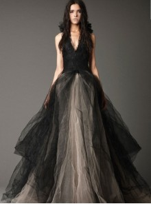 Gothic Black And Champagne Color Tulle And Lace Wedding Dress