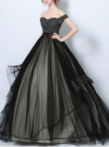 Gothic Black And White Tulle Off Shoulder Wedding Dress