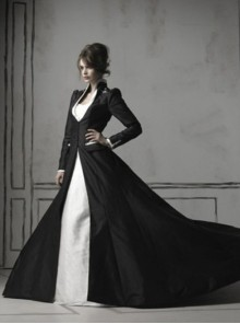 Gothic Black Long Sleeves Coat White Wedding Dress
